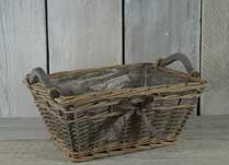 Willow Basket with Gingham Ribbon