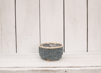 Lovely dark blue wood chip basket. This would look perfect planted up in your home or as a gift!