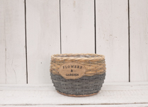 Lovely grey grass and wood chip basket, perfect for indoor planting!