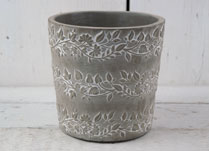 Stone Pot With Leaf Design