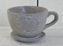 Cement Cup and Sauncer Planter with Heart Decoration Formed by Tiny Roses