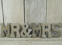 Mr and Mrs Word set made from cement