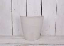 30x22cm Tall Oval Chalk White Pot Made From Recycled SPW