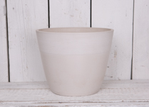 35cm Round Chalk White Pot Made From Recycled SPW