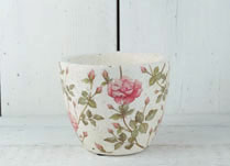 Whitewashed Concrete Pot with Pretty Rose Design