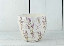Whitewashed Stone Pot with Lavender Design