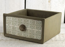 Stone Drawer Planter with Green Tile-Effect Front