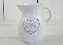 White Ceramic Jug with Floral Heart Detail