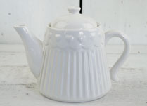 White Ribbed Ceramic Teapot with Repeat Heart Pattern