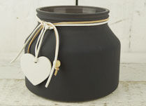 Grey Frosted Jar with Heart Decoration