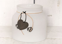 White Frosted Jar with Heart Decoration