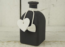 GreyFrosted Bottle with Heart Decoration