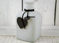 White Frosted Bottle with Heart Decoration