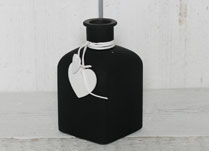 Black Frosted Bottle with Heart Decoration