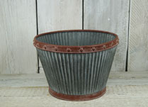 Ribbed Zinc Planters and Containers