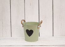 Gorgeous mint green zinc bucket, great for indoor or outdoor planting!