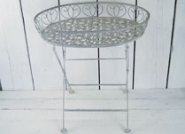 Antique Grey Metal Tray Table with Intricate Design