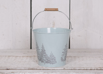 18cm Round Blue Zinc Bucket with debossed Christmas Trees