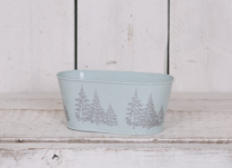23.8cm Round Blue Zinc Trough with debossed Christmas Trees