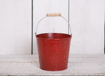 18cm Red Round Tapered Star Zinc Bucket with Handle