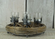 Round Willow Christmas Tealight Holder