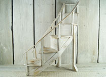 Curved Whitewashed Wooden Step Display Stand