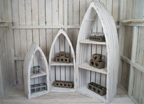 Set of 3 Whitewashed Wooden Shelves