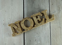 Shabby chic word set made from birch wood