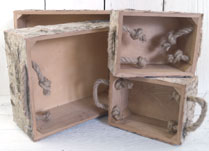 Set of 3 Birch Bark Boxes