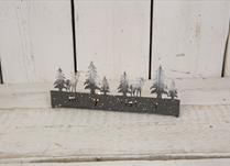 Forest Green Metal Tealight Holder with Christmas Tree Scene and 4 tealight holders
