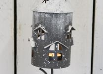 Forest Green House Metal Candle Holder on a perch with a snow effect roof