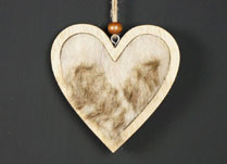 Wooden Furry Hanging Heart