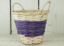 Two-Tone Purple and Natural Basket with Ears and Liner