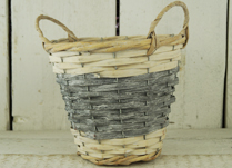Two-Tone Grey and Natural Basket with Ears and Liner