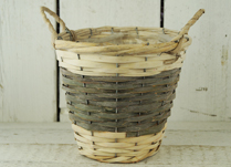 Two-Tone Green and Natural Basket with Ears and Liner