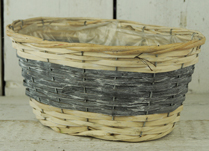 Two-Tone Grey and Natural Basket with Liner