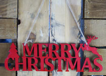 Red Wooden Merry Christmas Sign