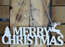 White Wooden Merry Christmas Sign