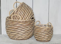 Set of 3 Peeled Willow Baskets with Ears for Storage or Planting
