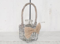 Single Bottle-Shaped Vase in a Wire Gift Basket with Hessian Bow