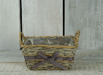 Rectangular Willow Basket with Pretty Gingham Ribbon