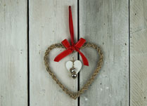 Wicker Heart with Small White and Silver Heart Decoration