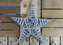 Large Glittery Willow Star with Baubles