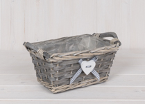 Rectangle Basket with Wooden Ears with Button Heart with ribbon