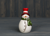 White Ceramic Snowman with Red hat and green scarf