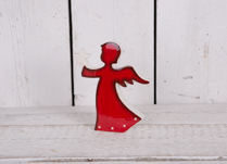 Large Red Dolomite Angel holding White Star and has white star detail on the bottom