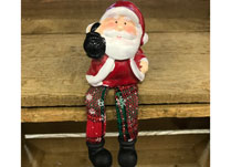 Ceramic Santa with Long Fabric Legs detail page
