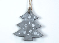 Hanging Cement Tree with Snowflakes Design