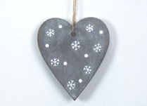 Concrete Heart Decoration with Snowflake Design