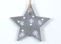 Hanging Concrete Star with Snowflake Design